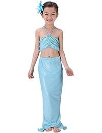 Happy Cherry - (Set de 3) Conjuntos de Bikini Bañador Traje de Baño Disfraz de Sirena Natación Playa Verano para Niñas - Azul - 2 3 4 5 6 7 8 años