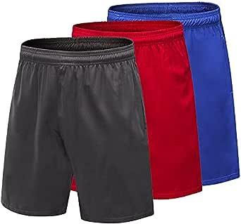 Yuerlian - Pantaloncini corti da uomo, ad asciugatura rapida, con tasche, confezione da 3