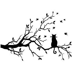 Pegatinas decorativas para pared, con diseño de gato y ramas, fáciles de retirar, color negro
