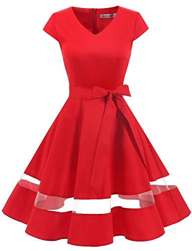 Gardenwed Women's Vintage 1950s Retro Rockabilly Swing Dress Cocktail Dress with Cap Sleeves