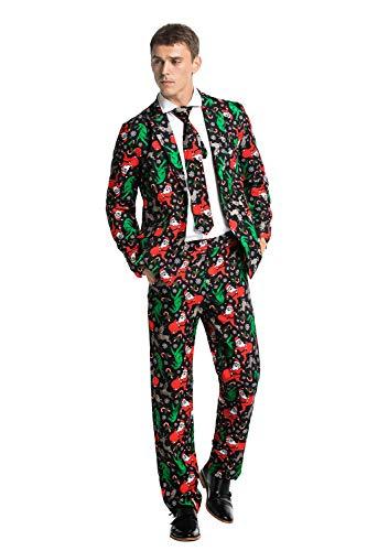 Kostüm Santa Einzigartige - U LOOK UGLY TODAY Halloween Anzüge Herren Anzug Party Weihnachts Kostüm Modisch Festliche Party Suits Bunt Druck mit Jackett Hose Krawatte