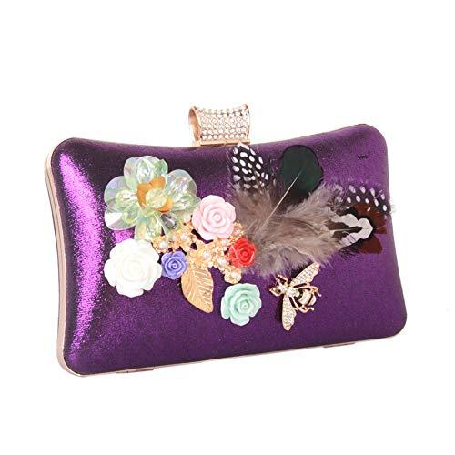 ZYXB Frauen Abendtasche Clutch Handtasche Mit Diamanten Perle Hochzeit Event/Formale Kette Pailletten Neu,LILA