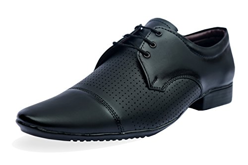 Axonza Men's Black 205 Lezer Derby Faux Leather Office/Party Wear Lace Up Formal Shoes