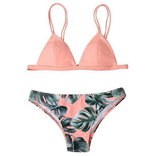 fa93e8a60b Asalinao Frauen gedruckt Blatt Split Bikini Set 2-teiliges Set Beachwear