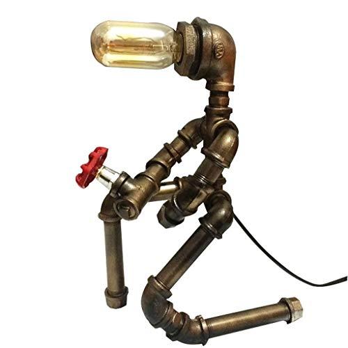 Tischlampe Wasserrohr Roboter-cafe Bar Studie Loft Industrielle Wind Dekoration Auge Lampe (ohne Lichtquelle) (Farbe : Metallic)