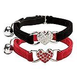 DAIXI Katzenhalsband, Katzenhalsband mit Glocke und Bling Kristallherzcharme Niedliche Tierbedarf… (Black+Red)
