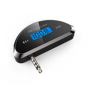 TeckNet 3.5mm Universal FM Transmitter With Build in Rechargeable Battery + 2.1A Multi Car Charger - Black