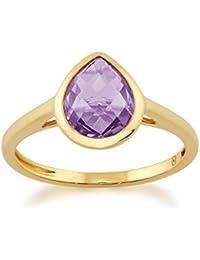 Gemondo 9 Ct Oro Amarillo 1,66 Ct Pera Amatista Violeta Luminosidad Anillo