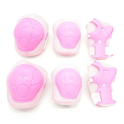 Cooplay Small Size Elbow Wrist Protective Knee Pads Protective Gear Guard Adjustable for Kids Boy Children Longboard Skateboard Bicycle Ice Skate Roller Skating Cycling Mini Riding and Other Extreme Outdoor Sports Set of 6pcs (Pink)