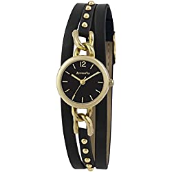 Accessorize Women's Quartz Watch with Black Dial Analogue Display and Black PU Strap AZ2034