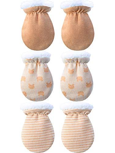 guantini neonato Blulu 3 Paia Guanti da Neonato Guanti in Cotone Caldo Bambini Bambina Guanti Invernali Guanti Foderati in Lana Appena Nata per 0-12 Mesi (Colore A)