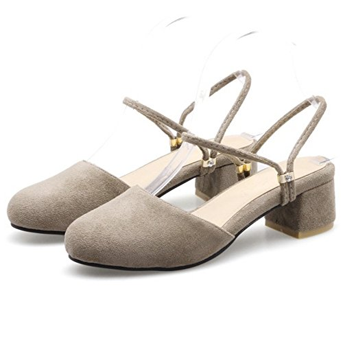 COOLCEPT Damen Mode Knochelriemchen Sandalen Geschlossene Slingback Blockabsatz Schuhe Grau