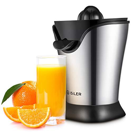 ISILER Zitruspresse, 100 W Saftpresse 2019 Neueste Version, 5 Minuten für ein 350 ml Glas Saft, Organgenpresse mit Staubschutzhaube und Stahlgehäuse, Entsafter für Zitrusfrüchte wie Orangen Grapefruit