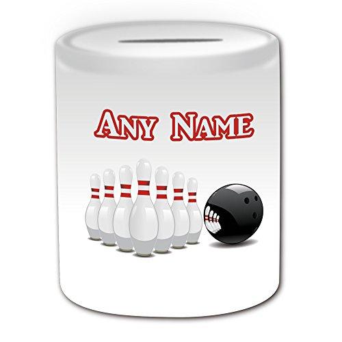 Personalisiertes Geschenk–Bowling Spardose (Sport Design Thema, weiß)–alle Nachricht/Name auf Ihre einzigartige–Zehn Pin Ball (Personalisierte Bowling Ball)