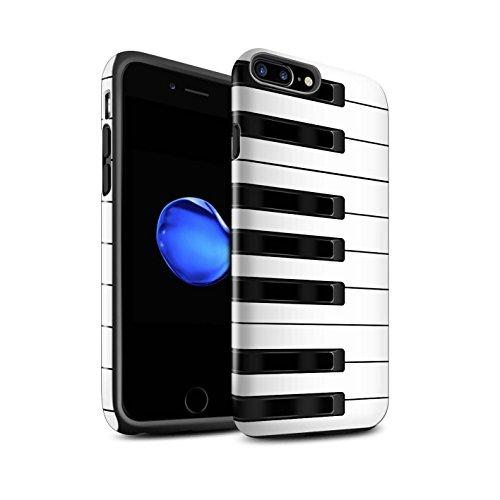 STUFF4 Glanz Harten Stoßfest Hülle / Case für Apple iPhone 7 Plus / Tastatur/Blanc Muster / Schaltfläche/Tasten Kollektion Klavier/Piano
