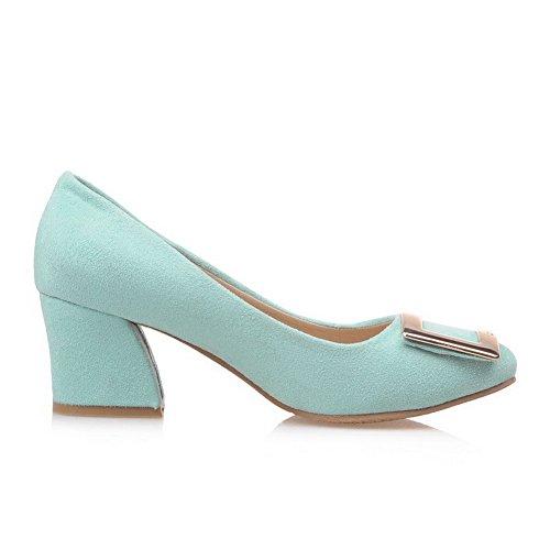 AgooLar Damen Nubukleder Mittler Absatz Quadratisch Zehe Eingelegt Ziehen Auf Pumps Schuhe Grün