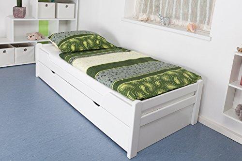 "Massivholzbett / Gästebett ""Easy Möbel"" K1/1n inkl 2 Schubladen und 2 Abdeckblenden, 90 x 200 cm Buche Vollholz massiv weiß lackiert"