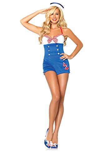 Leg Avenue Süße Matrosin Kostümset mit Strampler mit eingewebtem Anker und Matrosenhut 83638, Farbe:BLUE/WHITE;Größen:M - Leg Avenue-strampler