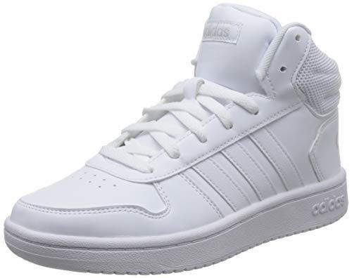adidas Damen Hoops 2.0 Mid Fitnessschuhe, Weiß (Ftwbla/Ftwbla/Ftwbla 000), 37 1/3 EU
