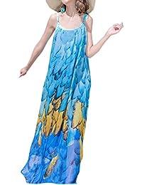 Donne Vestiti Bohemian Floreali Maxi Abito da Spiaggia Vacanza Moda Pin Up  Senza Schienale Vestito da 53f6d55716a