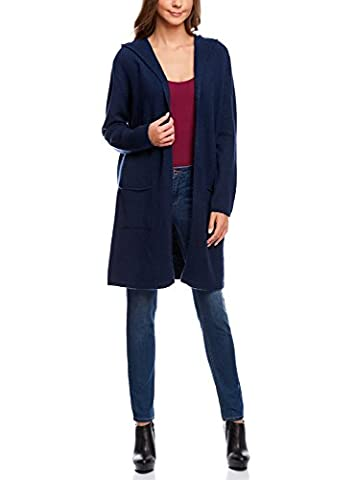 oodji Collection Damen Langer Cardigan mit Kapuze, Blau, DE 42 / EU 44 / XL
