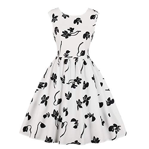Qmber Vintage 1950er Partykleid Rockabilly Lange Ärmel Retro CocktailKleid Jumpsuit Kurz Ballkleid Kleiderbügel Damenkleider Kurz Hepburn Kleid (Hunde T-shirt Plain)