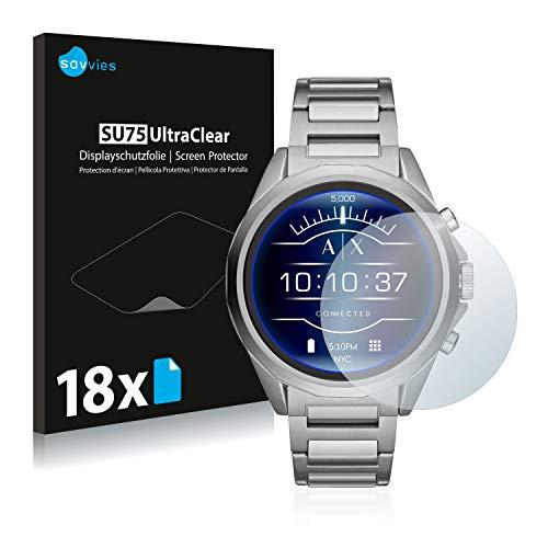 Savvies Schutzfolie kompatibel mit Emporio Armani Exchange Connected AXT2000 (18 Stück) - ultraklare Bildschirmschutz-Folie