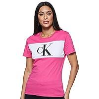 Calvin Klein Women's BLOCKING MONOGRAM CK S/S T-Shirt, Purple, Medium
