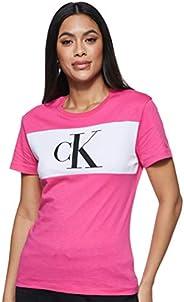 Calvin Klein Women's BLOCKING MONOGRAM CK TEE S/S T-S