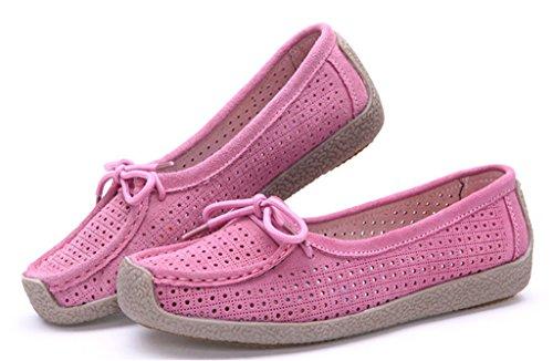 NEWZCERS Chaussures de conduite occasionnels de la fille des femmes de couleur unie Suede Hollow Out sculpter flats Loafers glisser sur les chaussures de bateau Rose