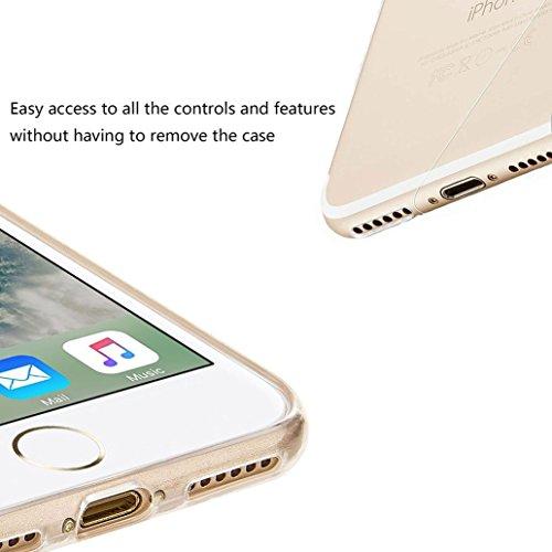 Custodia iPhone 7 [Pellicola Protettiva in Vetro Temperato], Yoowei® Design Colorato Cristallo Trasparente Ultra Sottile Morbido TPU Gel Case Cover per iPhone 7 4.7 (Fenicotteri) Gatti