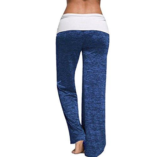 Yogogo Femmes Cordon Leggings Large Jambes Pantalons Leggings Jogging Sport Sarouel Confortable Mode Casual Pantalon De Pyjama Bleu foncé