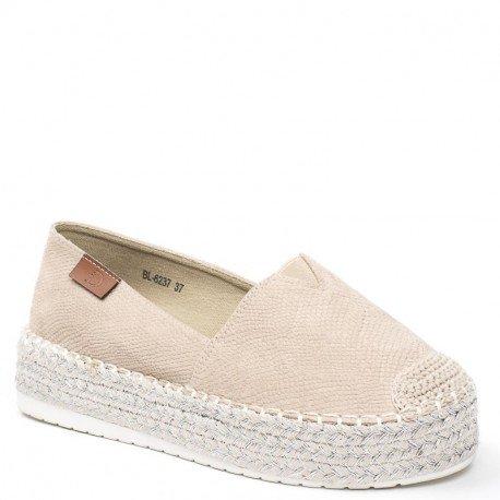 Ideal Shoes - Espadrilles effet reptile Helea Beige