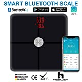 HESLEY Premium Smart Bluetooth Body Fat Scale ,BMI Scale Wireless Digital Bathroom Weight Scale with 18 Essential Measurements and ITO Conductive Glass,FDA Approved Body Composition Analyzer with App AiFIT