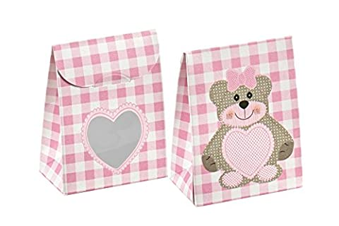 Decorative Gift Favor Box with Lid Teddy Bear Cutout, Set of 12, Best Designer Quality for Birthday, Wedding, Parties, Easy Fold, No Assembly Required, by Giovanni Grazielli, Pink Gingham Check (6.0 x 3.5 x 8.0 cm)