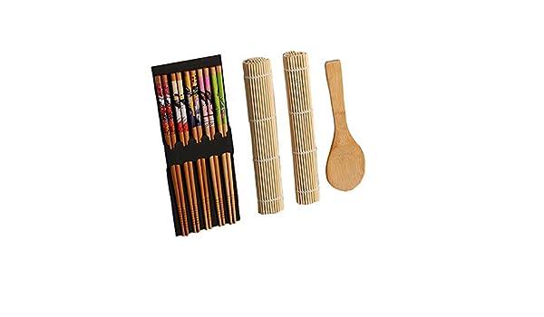 cucchiaio cucchiaio da casa lama in legno bacchette leggere fai da te include 2 rotoli di sushi 5 paia di bacchette Kit di rotolamento per sushi