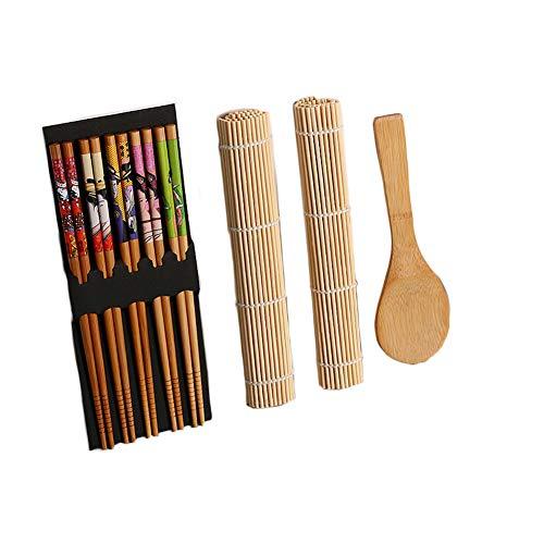 Kit per arrotolare per sushi, con cucchiaio, bacchette non tossiche, in bambù, per fai da te, leggero taglia libera brown+white