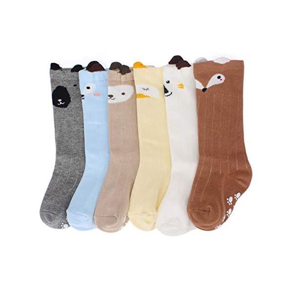 LACOFIA 6 Pares de calcetines largos de altos para bebé niñas Medias de algodón de punto princesa infantiles niña 2
