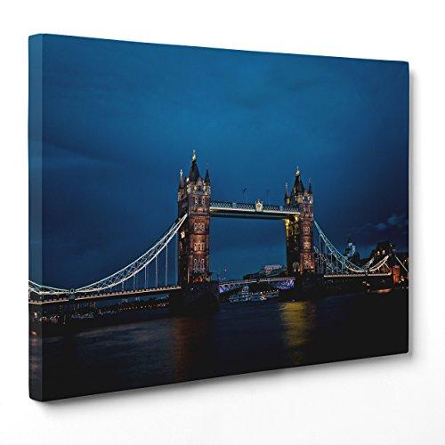 Bild auf Leinwand Canvas-Gerahmt-fertig Zum Aufhängen-London UK-Tower Bridge-Bigben-England Dimensione: 100x152cm A - Senza Cornice
