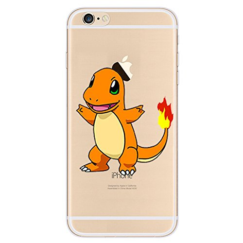 EatMyCase® für iPhone Modelle Pokemon Fall Collection – Custom Cute Cartoon Soft Gel TPU Back Cover Pen Stylus, 2: Charmander, iPhone 6plus ()