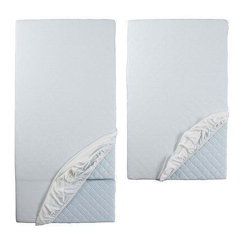 Ikea Len–Sábana bajera ajustable para cama retráctil en color blanco; 2piezas.