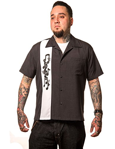 Steady Clothing Herren Vintage Bowling Hemd - Music Note Retro Bowling Shirt XL - Xl Retro Bowling Shirt