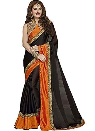 Monjolika Fashion Women's Satin Chiffon Saree (Free Size, Black, aziza)