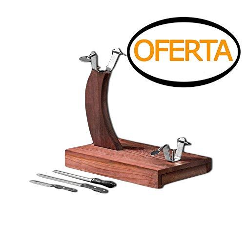 Soporte Jamonero con 2 cuchillos jamoneros y 1 afilador, medidas aproximadas 38,5 x 35 x 23 cm.