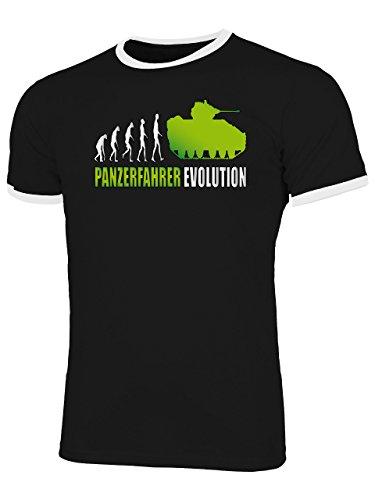 Panzerfahrer Evolution 2001 Herren Ringer T-Shirt (HR=Schwarz-Weiss/AD=Grün) Gr. XL