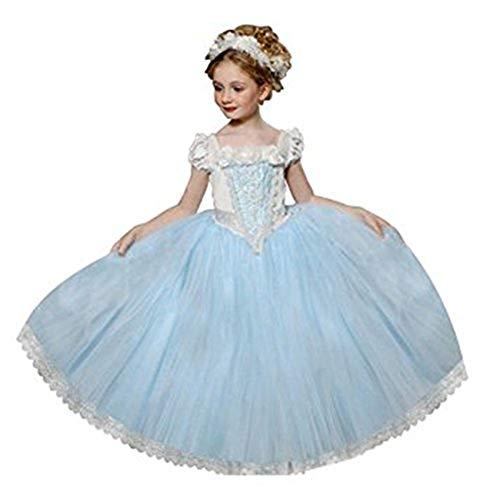 Ninimour Mächen Eiskönigin Eiskönigin Prinzessin Cosplay Fasching Kostüm Tutu Kleid 3-8 Jahre Alt (100, ZZZZ-Blau)