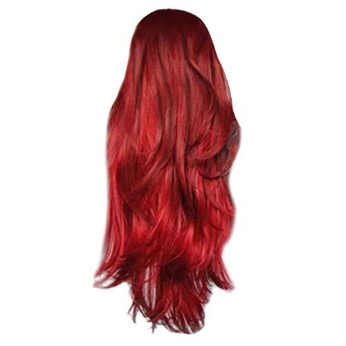 HCFKJ 2019 Mode Lange lockige gewellte synthetische Perücke rote natürliche volle Perücken für Frauen (RD)