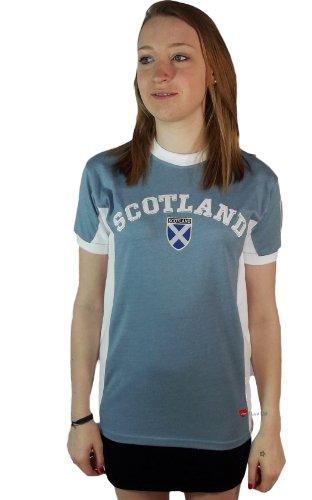 Womens Scotland Saltire Logo No 9 Crew Neck 2 Tone Short Sleeve T-Shirt blue