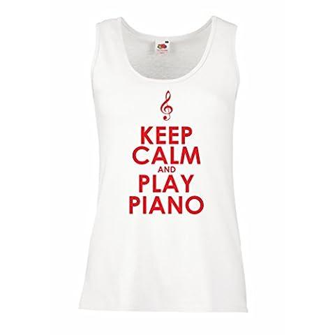 Femme Débardeur Sans manche Play Piano - citations musicales (Large Blanc Rouge)