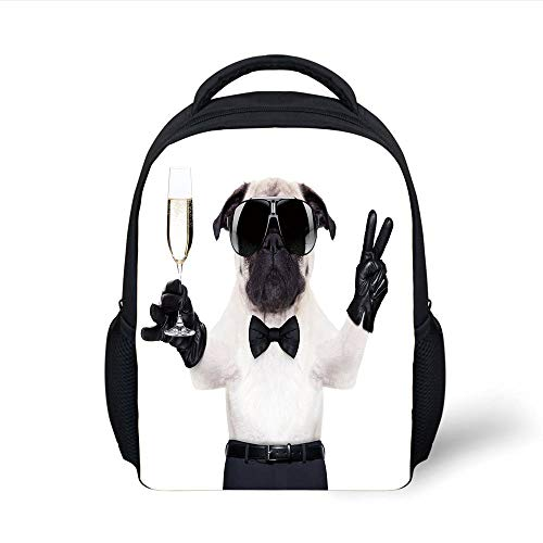 Kids School Backpack Pug,Pug Champagne Glass Peace Sign Cool Looking Dog Celebration Animal Decorative,Black White Cream Plain Bookbag Travel Daypack